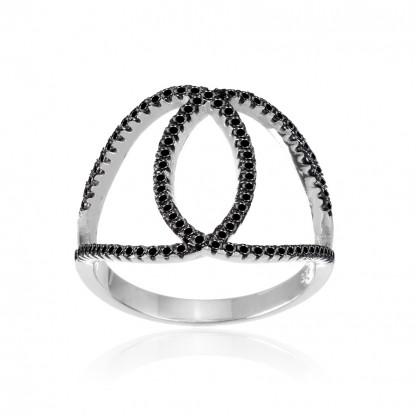 Кольцо  с петельками и черными кубическими цирконами, серебро 925 пробы