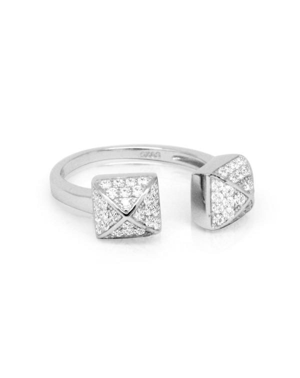 Кольцо несмыкающееся с кубическими цирконами, серебро 925 пробы