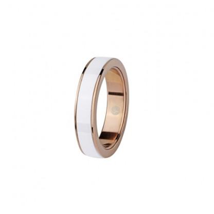 Кольцо из белой керамики и стали, покрытой розовым золотом