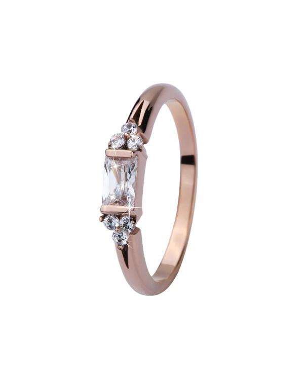 Кольцо стальное с центральной вставкой с фианитами, розовое золото