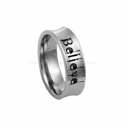 """Кольцо стальное с надписью """"Believe"""""""