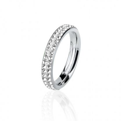 Кольцо стальное с белыми кристаллами в два ряда