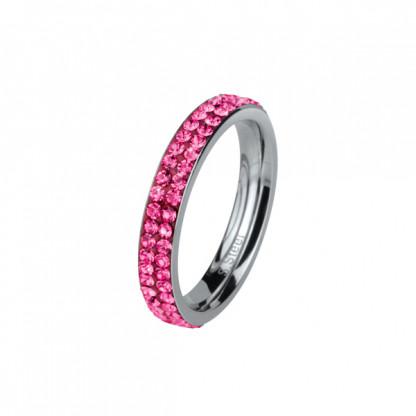 Кольцо стальное тонкое с двойным рядом розовых кристаллов