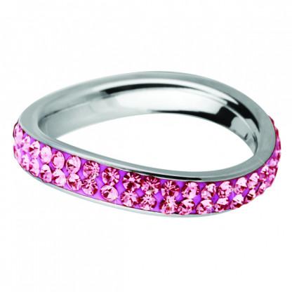 Кольцо стальное волнистое с двойным рядом розовых кристаллов