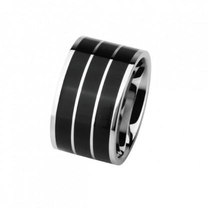 Кольцо стальное в полоску, с эмалью черного цвета