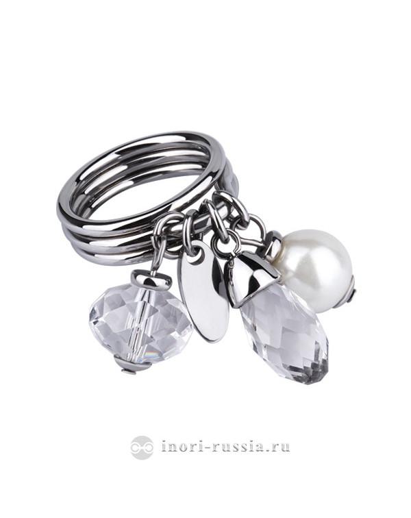 Кольцо стальное тройное с белым жемчугом и кристаллами Swarovski