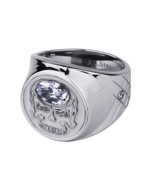 Перстень стальной белый с черепом