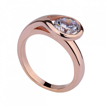Кольцо стальное с крупным фианитом, покрытие розовое золото
