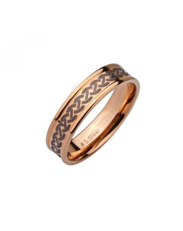 Кольцо стальное с узором покрытое розовым золотом