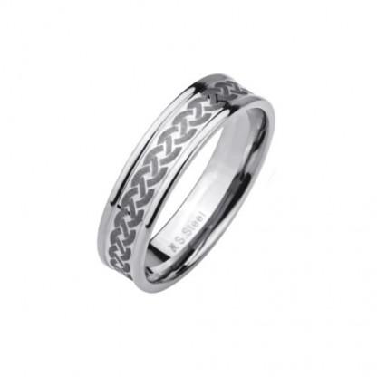 Кольцо стальное с узором