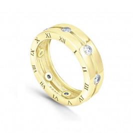 Кольцо из серебра 925 с фианитами и римскими цифрами, золотое pvd