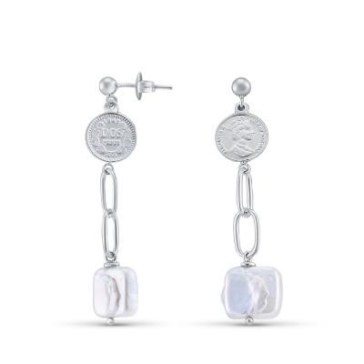 Серьги длинные из серебра 925 , жемчуг барокко