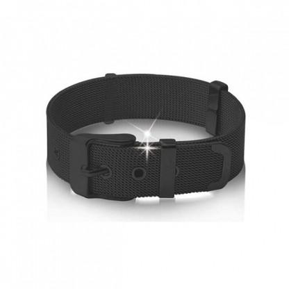 Браслет стальной в форме ремня с черным покрытием, коллекция Belt