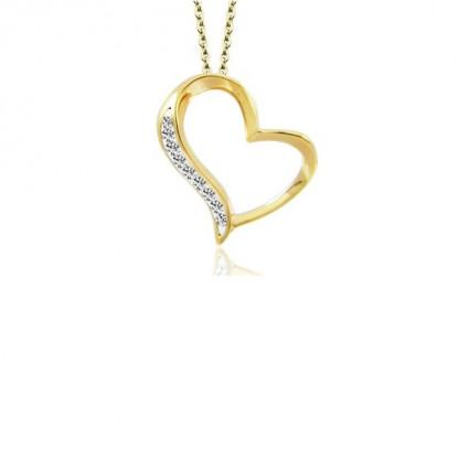 """Кулон стальной """"Сердце"""" с золотым pvd и прозрачными кристаллами"""