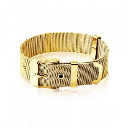 Браслет стальной в форме ремня с золотым pvd покрытием 14к, коллекция Belt
