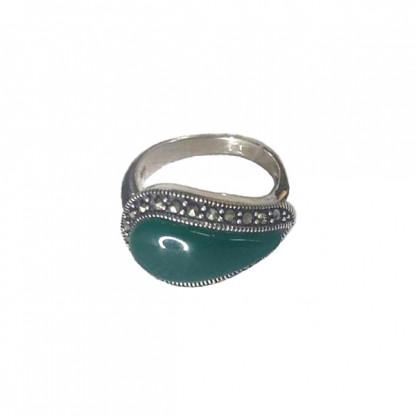 Кольцо из серебра 925 с агатом и марказитом