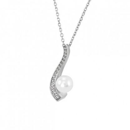 """Ожерелье из стали """"Завиток"""" с белой жемчужиной"""