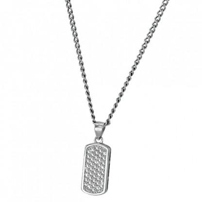 Кулон-бирка серебряный с фианитами, 925 проба