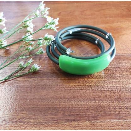 """Браслет из муранского стекла и каучука """"Сандра"""", цвет серо-зелёный"""