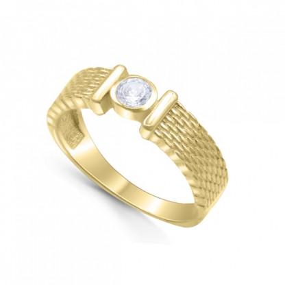 Кольцо из серебра 925 с текстурой и фианитом, золотое pvd