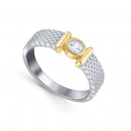 Кольцо из серебра 925 с текстурой и фианитом