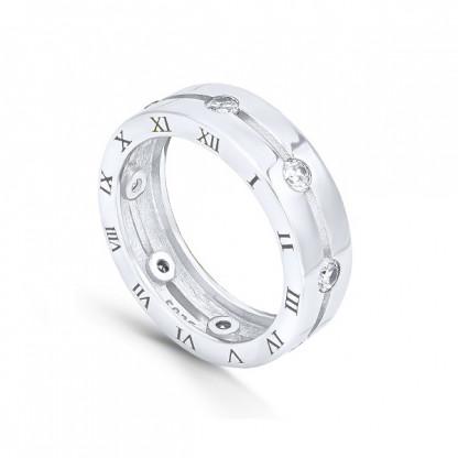 Кольцо из серебра 925 с фианитами и римскими цифрами