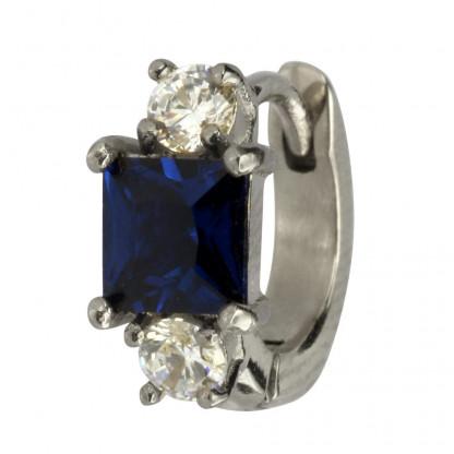 PBCM22 Серьга для пирсинга уха/сталь/син кристалл/фианиты