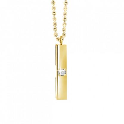 Кулон из стали прямоугольный с прозрачным фианитом и золотым покрытием