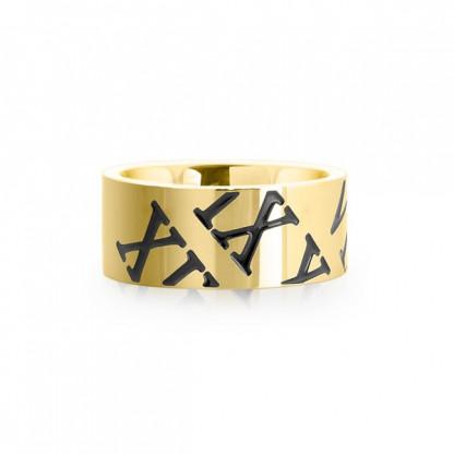 """Кольцо стальное золотого цвета с черными римскими цифрами, коллекция """"Цифры"""""""
