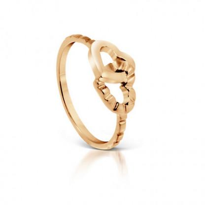 Кольцо стальное в форме двух соединенных сердец с золотым покрытием 14К в ассортименте