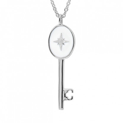 """Колье из серебра 925 """"Ключ"""" с белой эмалью"""