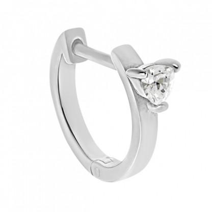 Серьга-кольцо из серебра 925 с прозрачным фианитом
