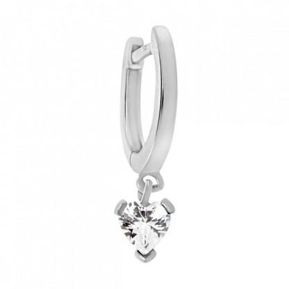 Серьга из серебра 925 с подвеской-сердечком