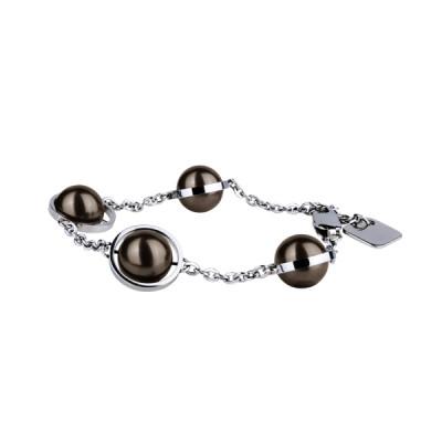 Браслет Pearl стальной с коричневыми жемчужинами Swarovski, коллекция Jewel