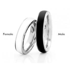 Кольца стальные выпуклые, черный и белый эпоксид, коллекция Eternally Yours