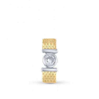 """Кулон прямоугольный из серебра 925 пробы с фианитом """"Золотой рельеф"""""""
