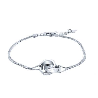 """Браслет тонкий двойной из серебра 925 пробы """"Признание в любви"""", 3,55 гр."""