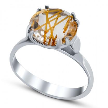 """Кольцо из серебра 925 пробы и кварца """"Золотые нити"""", 2,93 гр."""
