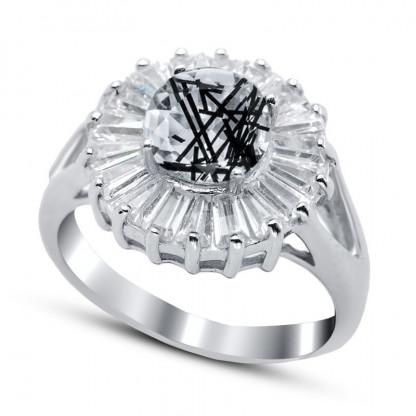 """Кольцо из серебра 925 пробы и кварца """"Волшебный цветок"""", 4,62 гр."""