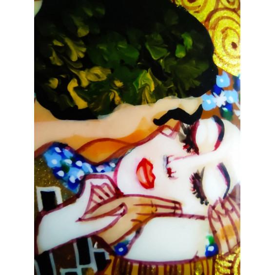 """Кулон-капля """"Поцелуй"""", копия картины Климта, бирюза"""