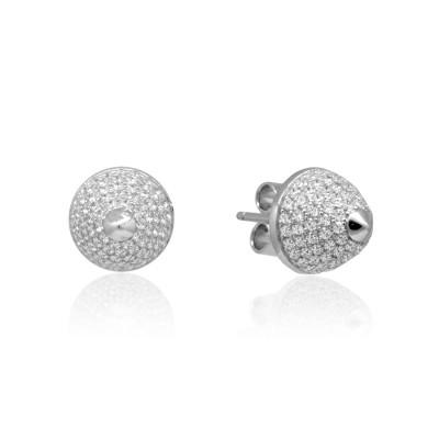 Серьги-пусеты серебряные с кубическими цирконами, серебро 925 пробы