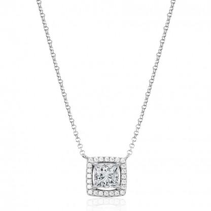Ожерелье с квадратным кубическим цирконом, серебро 925 пробы