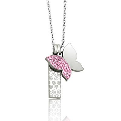 Кулон из стали с розовыми кристаллами Бабочка