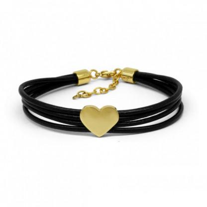Браслет женский тройной кожаный с золотым сердечком
