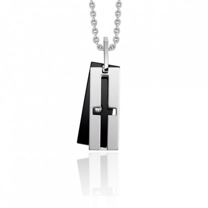 Кулон двойной из стали с прорезью в виде креста