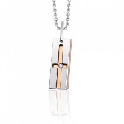 Кулон двойной из стали с прорезью в виде креста, розовое золото