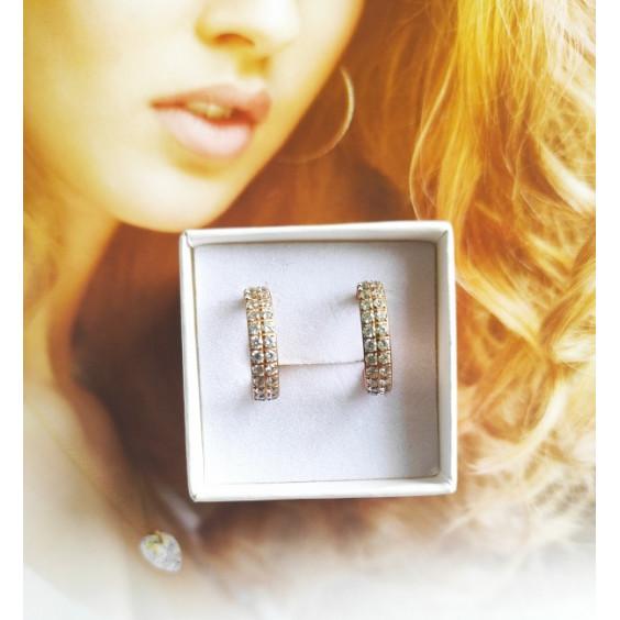"""Серьги полукругом с двойным рядом фианитом,pvd розовое золото  коллекция """"Совершенство"""""""