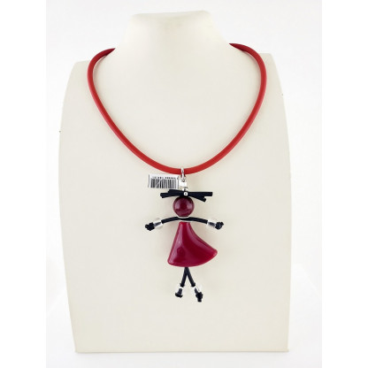 """Колье """"Девочка в бордовом платье"""", мурано, каучук"""