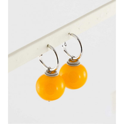 """Серьги-шары """"Роберта"""" из муранского стекла желтого цвета, 20мм"""