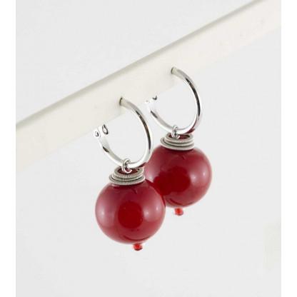 """Серьги-шары """"Роберта"""" из муранского стекла красного цвета,20мм"""